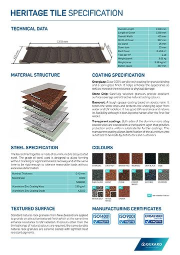 Heritage Tile Specification