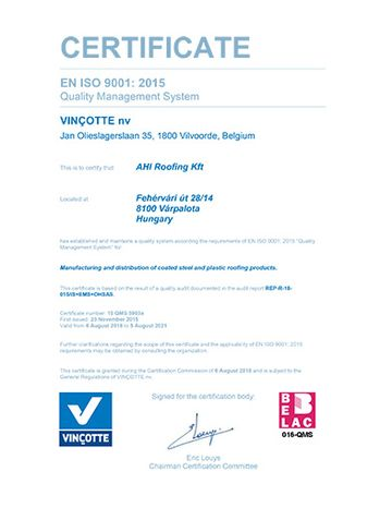 "EN ISO 9001 : 2008 ""Quality Management System"""